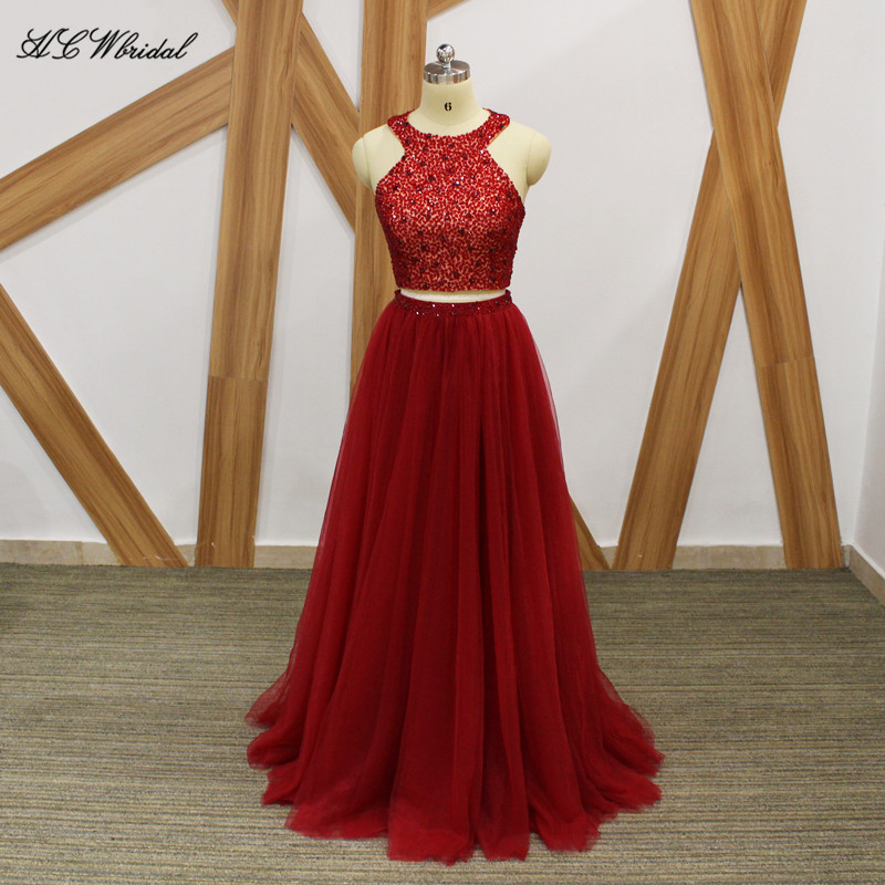 Burgundy 2 Piece Prom Dresses 2018 Chic Beaded Crystals Tulle Long ...