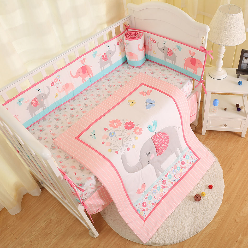 7pcs embroidered pink elephant Baby Crib Bedding Set Baby Bed Linens Girl Boys,(4bumper+bed cover+bed skirt+duvet)7pcs embroidered pink elephant Baby Crib Bedding Set Baby Bed Linens Girl Boys,(4bumper+bed cover+bed skirt+duvet)