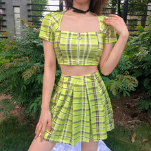 pole dance clothing rave outfit neon clothes plaid set square neckline crop tops pleated short skirt wear
