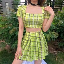 цены на pole dance clothing rave outfit neon clothes plaid dance set square neckline crop tops pleated short skirt pole dance wear