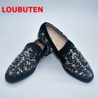 LOUBUTEN/черная замшевая Мужская обувь; роскошные мужские лоферы ручной работы без застежки со стразами и бисером; Мужская обувь для выпускного