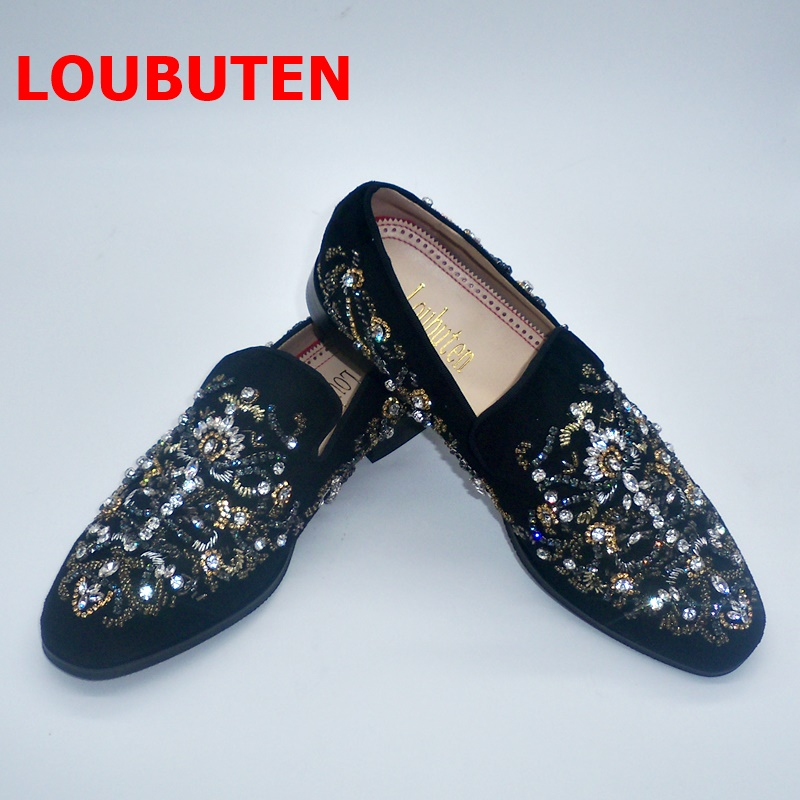 LOUBUTEN Black Suede Mens Shoes Luxury Handmade Slip On Crystal Rhinestone Beading Men's Loafers Men Prom And Wedding Shoes