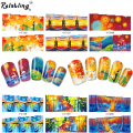 Rolabling Beautiful Fall mix oil painting water transfer nail sticker on nail art stickers with full cover nail sticker