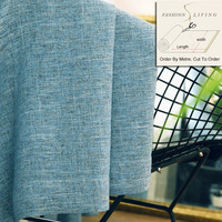 280cm Wide Solid Grey Linen Fabric Blue Window Curtain Fabric Thermal Insulated Blackout Curtain Fabric Home