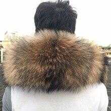 60-90 см натуральный воротник из натурального меха женские шарфы зима пальто свитер Шарфы Воротник мода мех енота натуральная Шея шапка