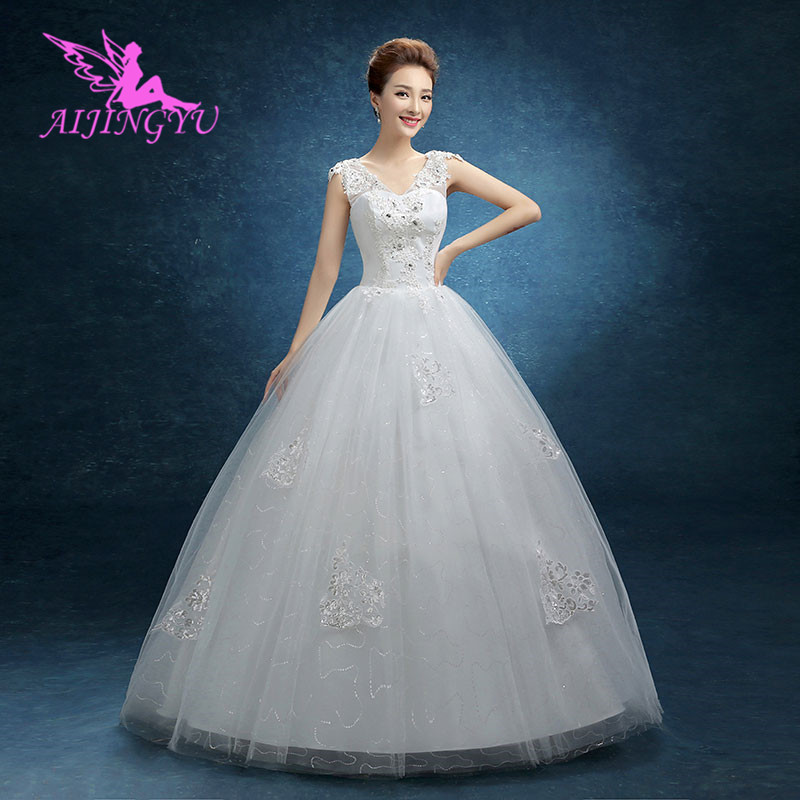AIJINGYU 2018 Gowns Free Shipping New Hot Selling Cheap Ball Gown Lace Up Back Formal Bride Dresses Wedding Dress WK106