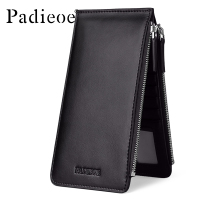 Padieoe 2018 New Black Card Holder Leather Fashion Wallet Men Genuine Leather Credit Card Holder Card Wallet Double Zipper Purse
