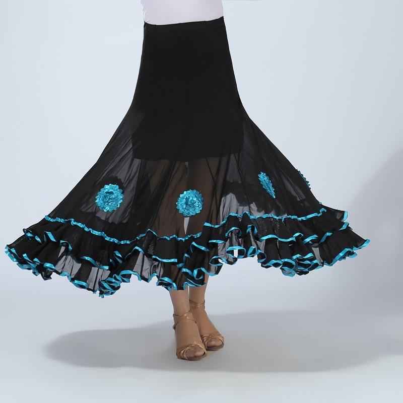 Women Belly Dance Waltz Flamenco Ballroom Dress Competition Outfits Spain Dancer Skirts Long Swing Dance Skirt Holographic (3)
