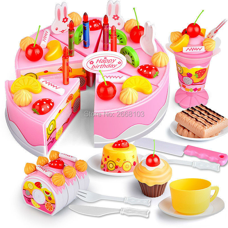 75PCS Cut Birthday Cake Toys Set Kitchen Fruit Children Pretend Play Food Early Educational Classic Toy Gifts For Kid Model Game