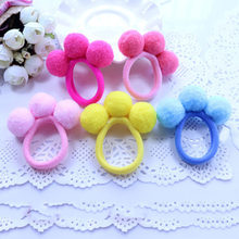 2pcs/set Baby Girl Autumn Winter Models of three Wool Plush Ball Hair Circle Girls Hairline 12 Colors(China)