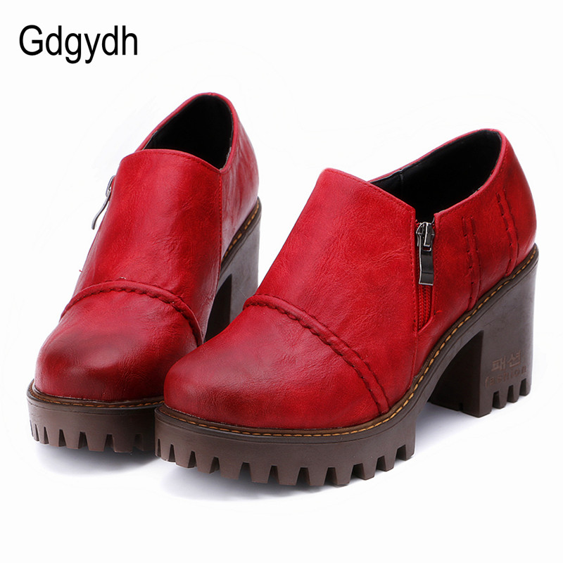 Gdgydh 2019 Spring Autumn Women Shoes Thick Heels Female Pumps Round Toe Platform Ladies Single Shoes Casual Woman Zipper
