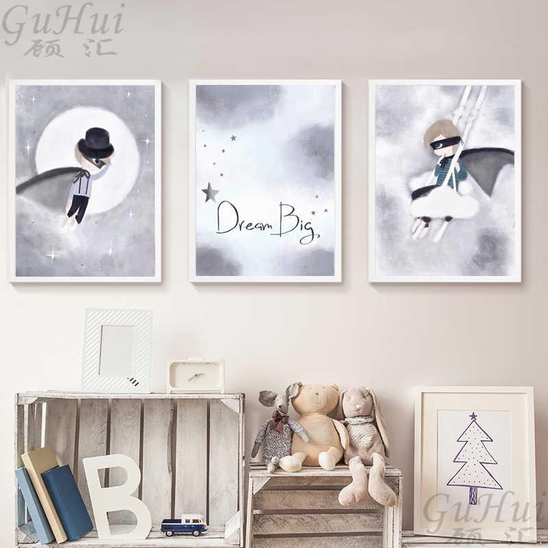 Скандинавский акварельный маска героя из мультфильмов плащ мальчик ангел кролик девочка Холст Картина плакат панда настенные картины детская комната украшение дома