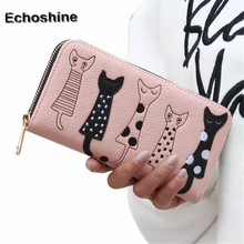 Brand new Women Cat Cartoon Wallet Long Female Card Holder Casual Zip Ladies Clutch Leather Coin Purse ID Holder Gift