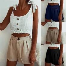 Women Sexy Shorts Solid High Waist Short Pants Pockets Casual Slim Shorts Female Stretch Elegant Shorts Pantaloncini Donna