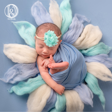 Handmade wool diameter~60cm Newborn baby blanket Fluffy Wool Newborn photography props Basket Filler Stuffer