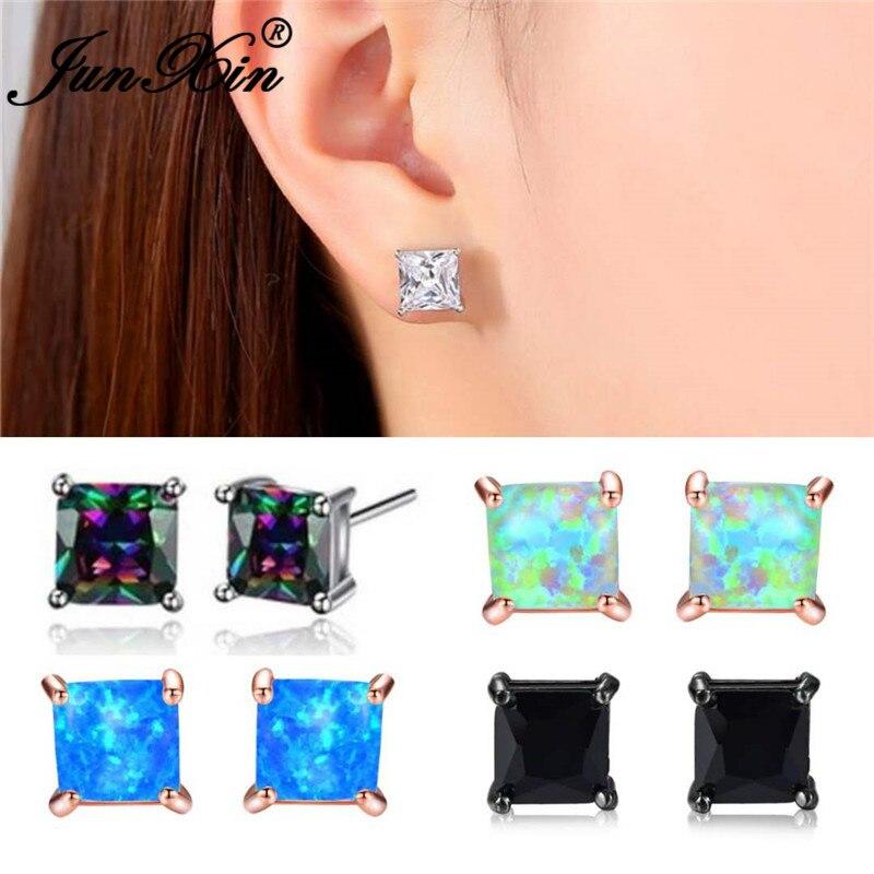 JUNXIN Princess Cut Crystal Square Stud Earrings For Women Men White Gold Rose Gold Color Black CZ White Blue Fire Opal Earrings