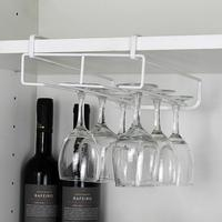 1pcs Wine Cup Wine Glass Holder Hanging Drinking Glasses Stemware Rack Under Cabinet Storage Organizer Double