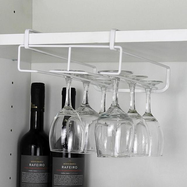 Charming 1pcs Wine Cup Wine Glass Holder Hanging Drinking Glasses Stemware Rack  Under Cabinet Storage Organizer Double