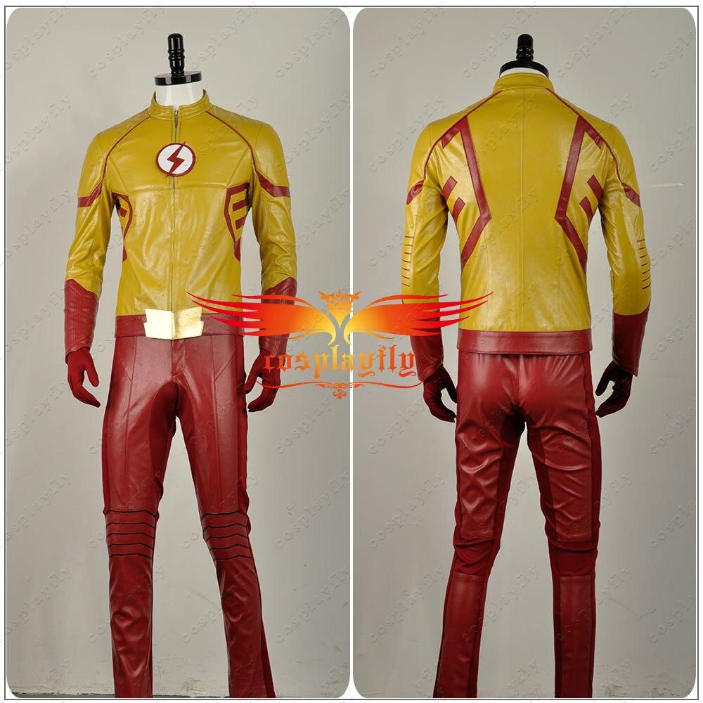 2016 film The Flash saison 3 Wally West II enfant Flash cuir vêtements Cosplay Costume tenue uniforme pour adulte avec masque W1130 - 2