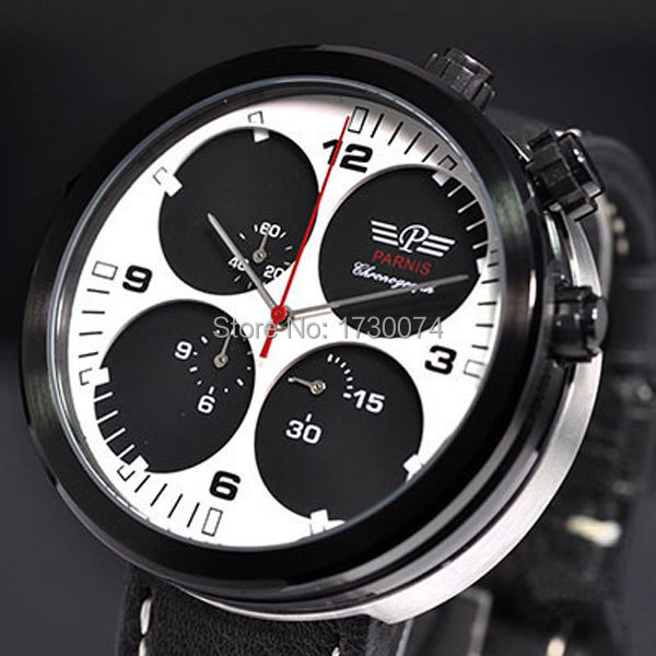 Parnis watch 48mm Black white sandwich dial fashion full chronograph quartz movement Men's watch P50 цена и фото