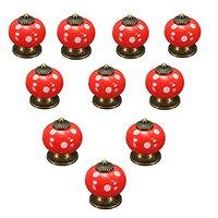 WSFS Hot Sale 10pcs Retro Polka Dot Ceramic Door Knob Cabinet Cupboard Drawer Locker Handles Red