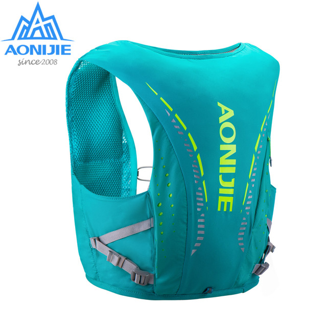 AONIJIE C942 المتقدمة الجلد على ظهره المجموعة المائية حقيبة ظهر سترة تسخير المياه المثانة التنزه التخييم الجري سباق ماراثون