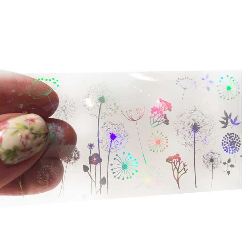 4*100Cm/Roll Holografische Nail Folie Vlam Paardebloem Panda Bamboe Holo Nail Art Transfer Sticker Water Slide nail Art Decals