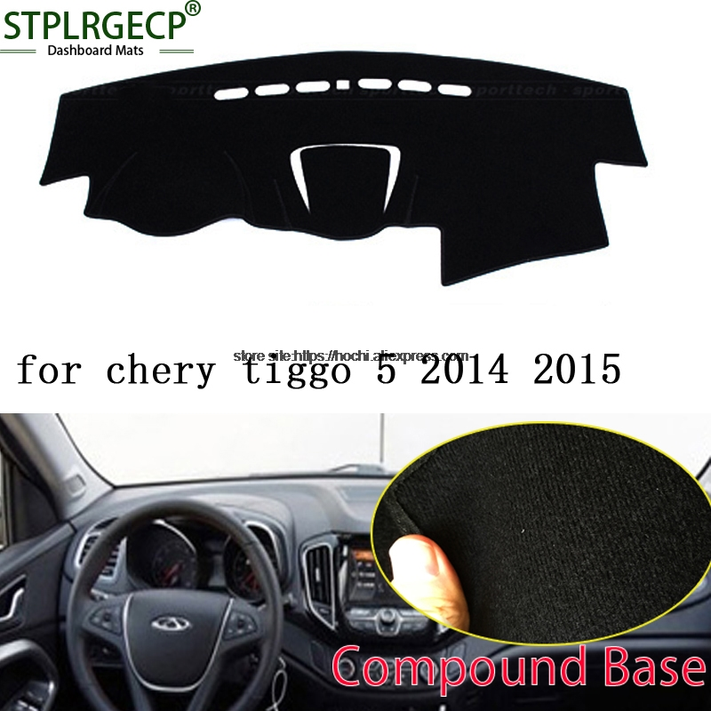 STPLRGECP double layer Black Dash Mat For Chery tiggo 5 2014 2015 Dashmat Black Carpet Car Dashboard Automotive interior Mats stplrgecp double layer black dash mat