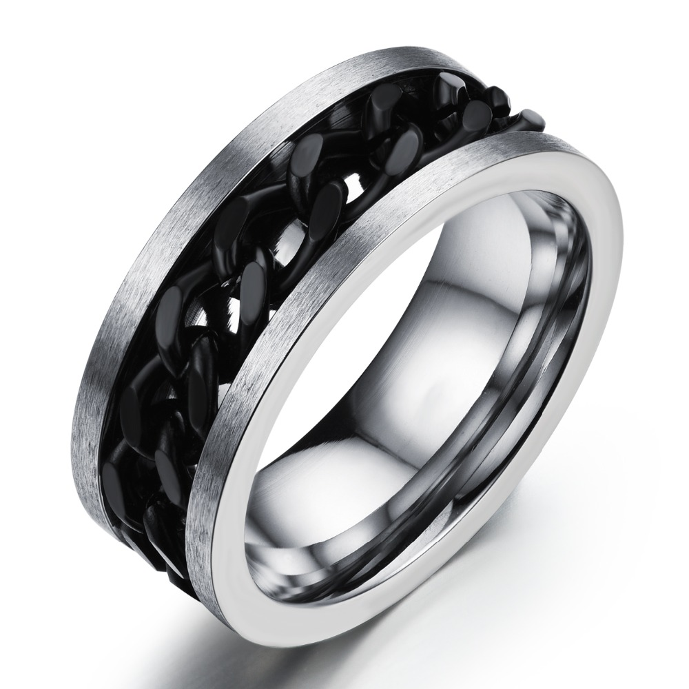 Stainless Steel Center Cool 8mm Wide Cool Rock Punk Gothic Man Engagement  Single Cock Black Ring
