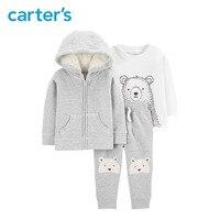 Carters 3Pcs Baby Boy clothes set Cute bear hoodies t shirt pants autumn winter baby clothing 127H439