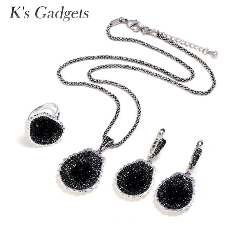 K'S Gadgets collier Vintage en cristal noir, bague à Erring, ensemble de bijoux à la mode avec perles bleues, ensembles de bijoux à fleurs pour femmes