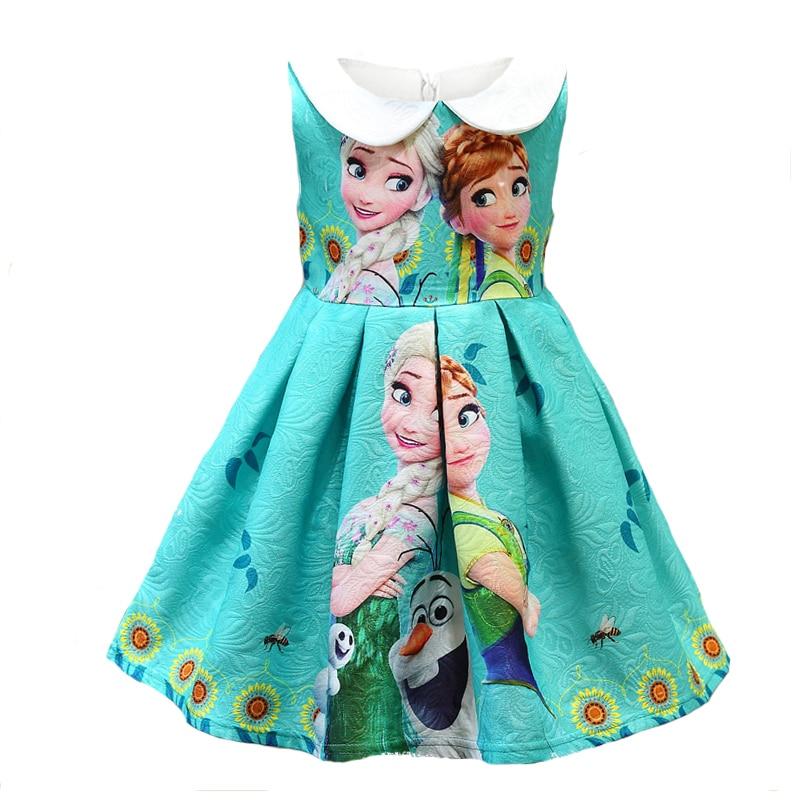 Meitenes vasaras kleita Anna Elsa karikatūra drukāt Kids Cosplay puse kāzu apģērbi Fancy princese meitenes apģērbi Baby Kids Vestidos