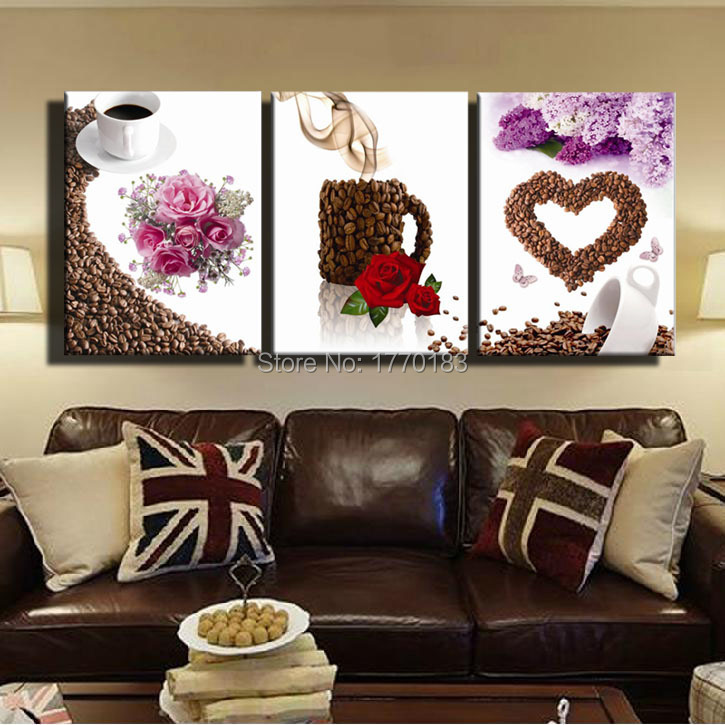 Canvas print painting artwork cafe and love wall art for Canvas painting ideas for dining room