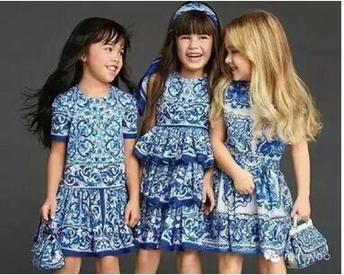 Girls Dress Princess Costume 2017 Spring Brand Kids Clothes Toddler Girls Dresses Layered Floral Children Dress