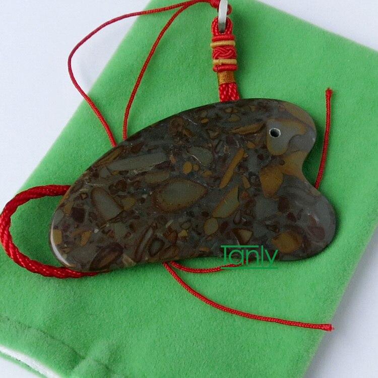 16pieces/lot Color stone massage guasha kit beauty face plate (comb shape) gift chart & bag high quality