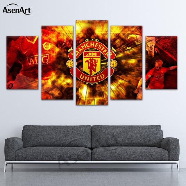 Online Shop Irregular Hd 5 Pieces Manchester Football Canvas Wall ...