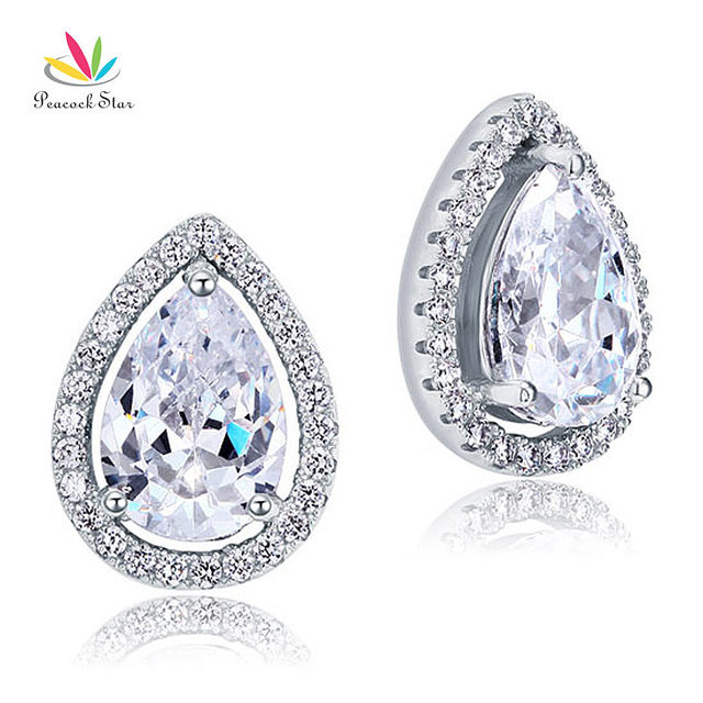Peacock Star 4 Carat Pear Cut CZ Simulated Diamond Stud 925 Sterling Silver Earrings Jewelry CFE8079