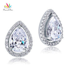 Peacock Star four Carat Pear Minimize CZ Simulated Diamond Stud 925 Sterling Silver Earrings Jewellery CFE8079