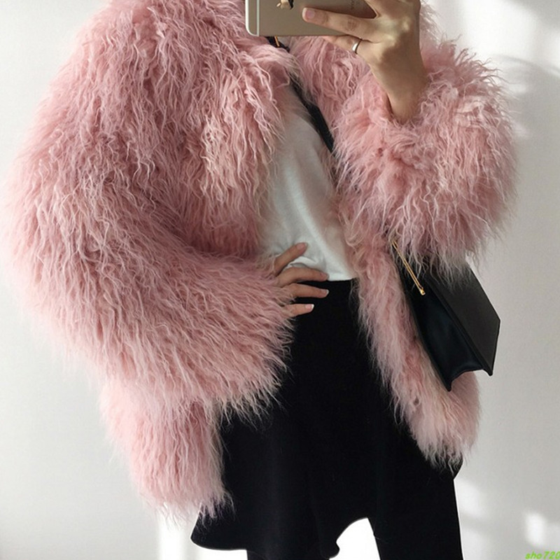 2019 Autumn Winter New Fur Coats Female Pink Fashionable Was Thin Long Hair Imitation Wool Hairy Fur Coat Parkas Women Top