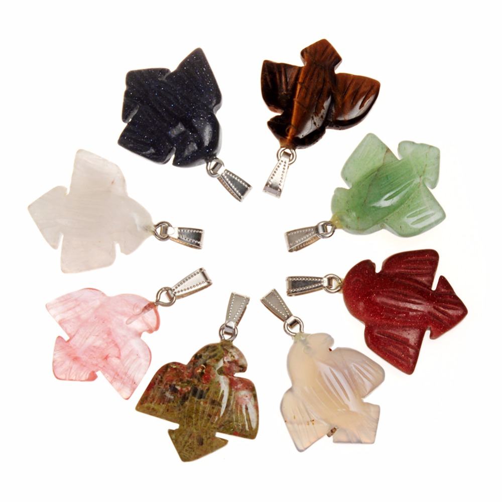 India Holy Energized Pink Quartz Aventurine Green Engraved Holy Stones Tiger's Eye Peace Love Dove Pendant to Balance Chakras