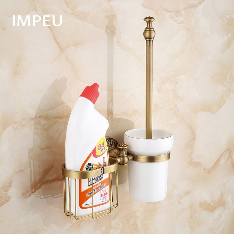 Antique Bathroom Accessories Toilet Brush Holder with Storage Organizer Basket Toilet Brush Stand Kit Antique Bronze