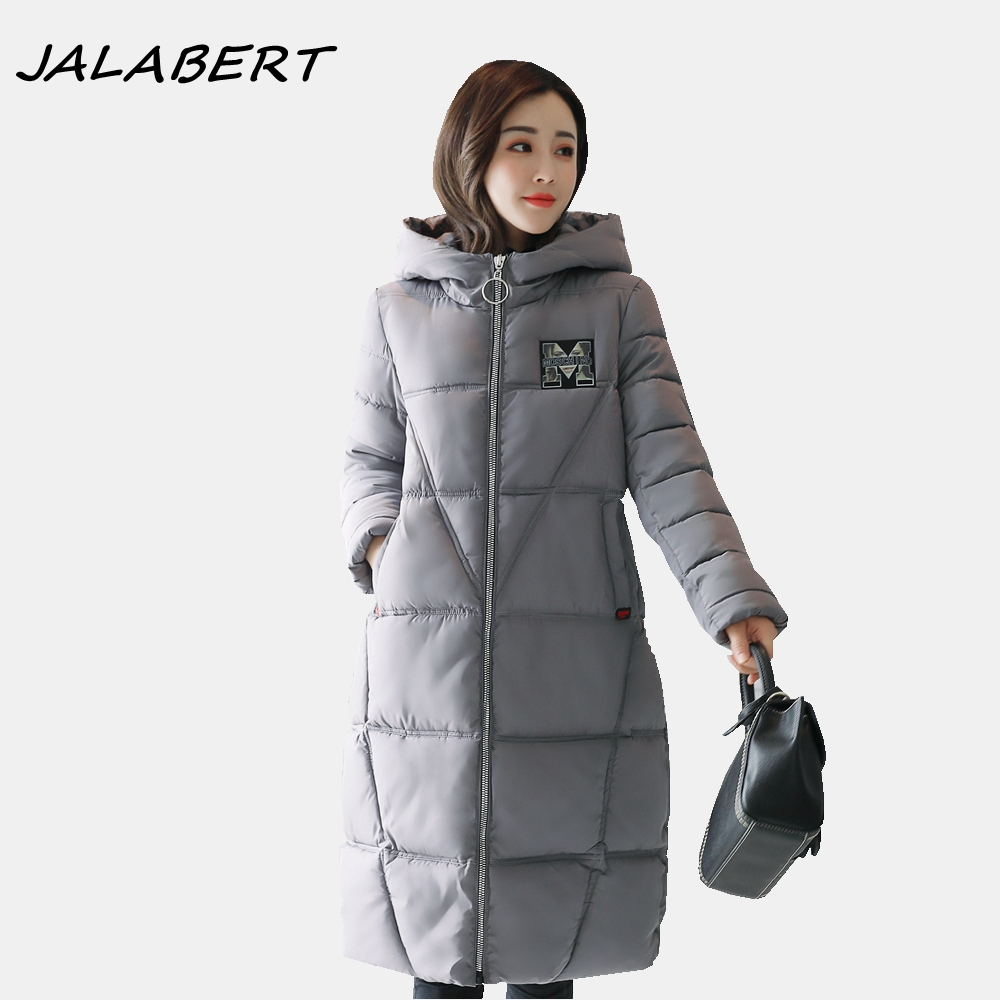 2017 new winter jacket for women warm long hooded thick solid zipper parkas female gray letter pattern slim cotton coat women long plus size jackets padded cotton coats winter hooded warm wadded female parkas fur collar outerwear