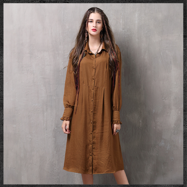 c03a4e3a0818 New women s vintage shirt-dress loose-fitting Autumn-spring fashionable  dress solid color
