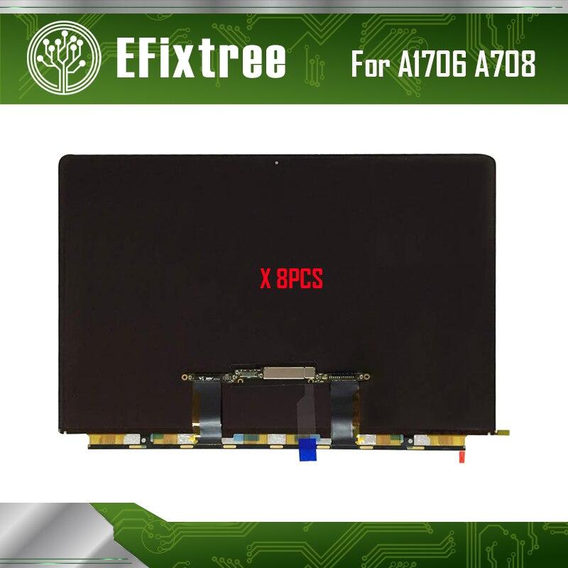 8 pcs/Lot Original A1706 A1708 LCD Display Screen For Macbook Pro Retina 13.3A1706 Screen Display 2016 2017 EMC 3163 EMC 3071