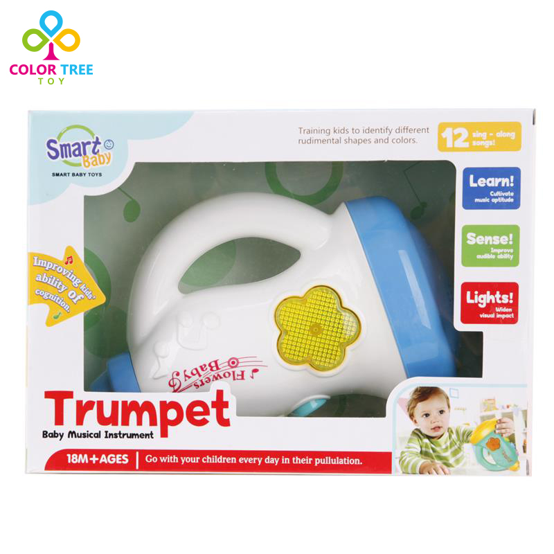 Kids Toys Music Trumpet Musical Instrument Educational Toys With Music Light Playing Learning Christmas Gifts For