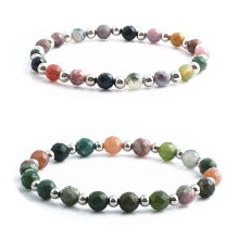 2019 Natural Natural Indian Stone Bead Bracelet for Men and Women Charm Bracelet Stainless Steel Bead Bracelet 6mm 8mm Stone цена