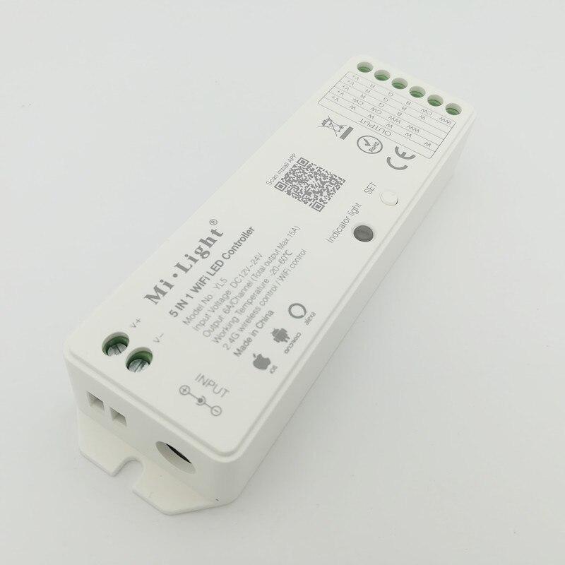YL5 5 em 1 Milight RGBW WI-FI LEVOU Controlador Para RGB RGB CCT cor Única led strip luz Amazon Alexa aplicativo de telefone de voz Remoto