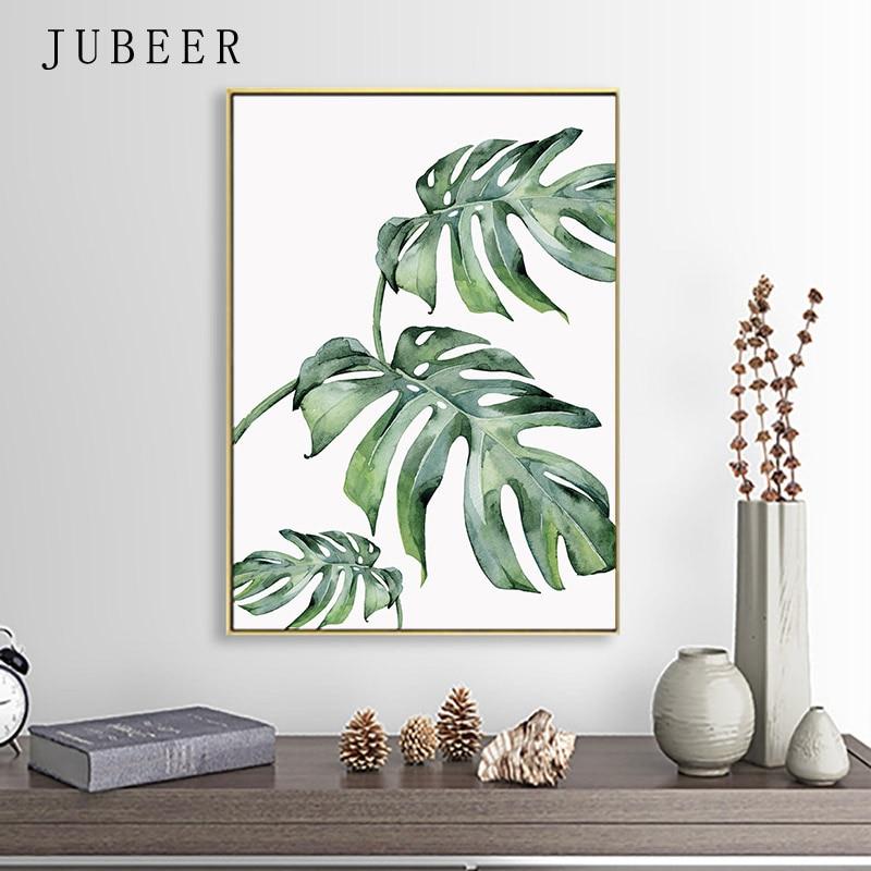 HTB1bkqYdoCF3KVjSZJnq6znHFXaU Scandinavian Style Tropical Plants Poster Green Leaves Decorative Picture Modern Wall Art Paintings for Living Room Home Decor