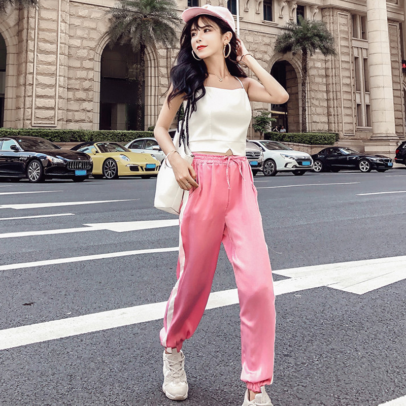 Women's Clothing New Summer Strapless Sleeveless spaghetti strap Vest crop tops+Side Stripe Harem Pants Streetwear Women's Sets 4