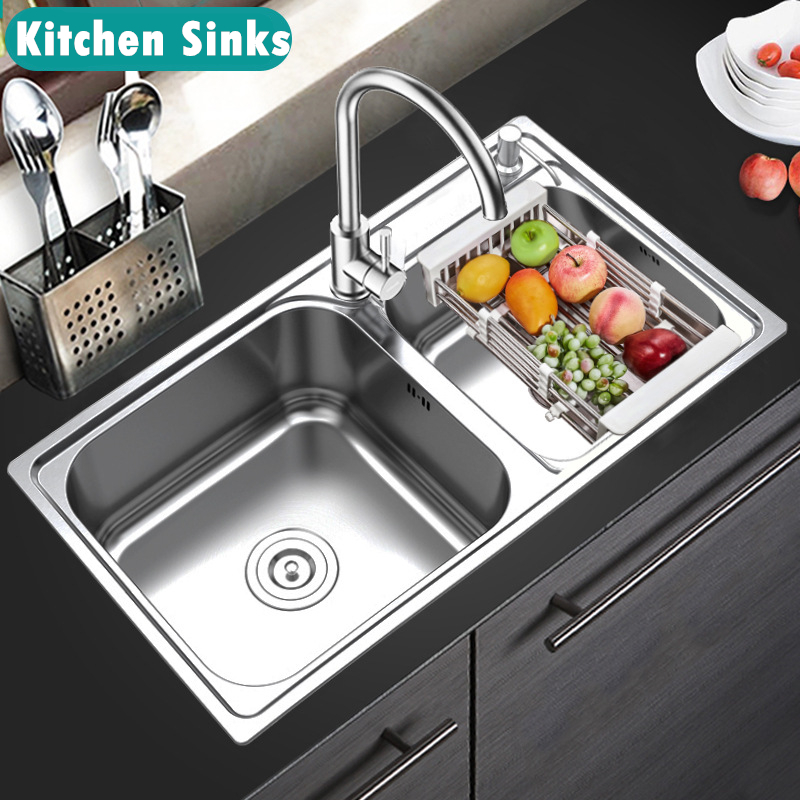 304 Stainless Steel Kitchen Sink Double Bowl Sink Wash Bowl Basin Hot and Cold Water Tap